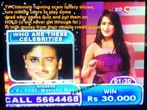 TV Channels running scam lottery shows in India